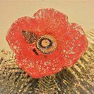 Ceramic Poppy With Snow Flakes by Fara
