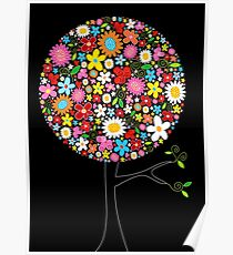 Whimsical Colorful Spring Flowers Pop Tree Poster