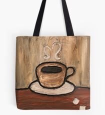 Mixed Media Coffee Cup Tote Bag