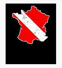 France Scuba Dive Shirt Rescue Diver Flag Shirt Photographic Print
