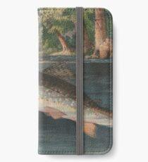 Weinlese-Fluss-Fischen-Illustration (1874) iPhone Flip-Case/Hülle/Klebefolie