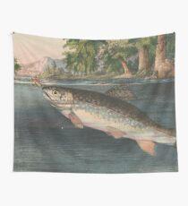 Weinlese-Fluss-Fischen-Illustration (1874) Wandbehang