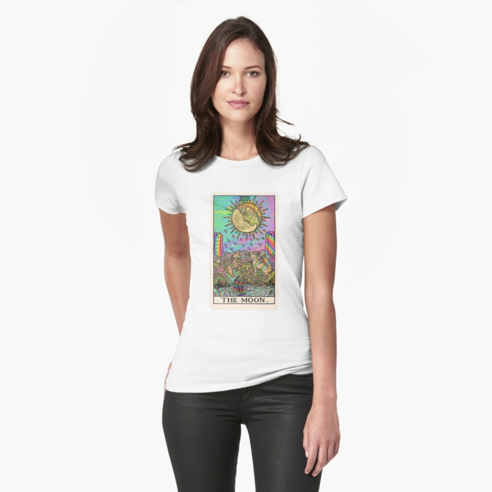 Psychadelic Tarot- The moon Fitted T-Shirt