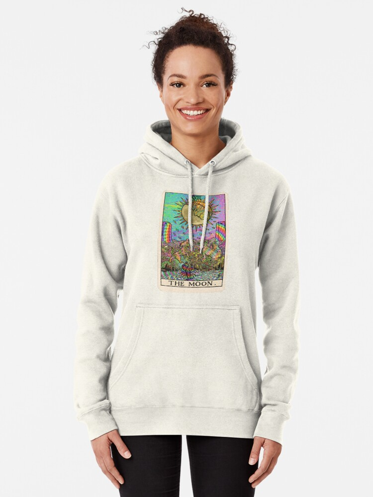 Alternate view of Psychadelic Tarot- The moon Pullover Hoodie