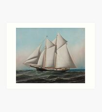 Vintage Schooner Sailboat Illustration (1887) Art Print