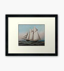 Vintage Schooner Sailboat Illustration (1887) Framed Print