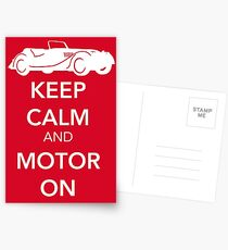 Keep Calm and Motor On Postcards