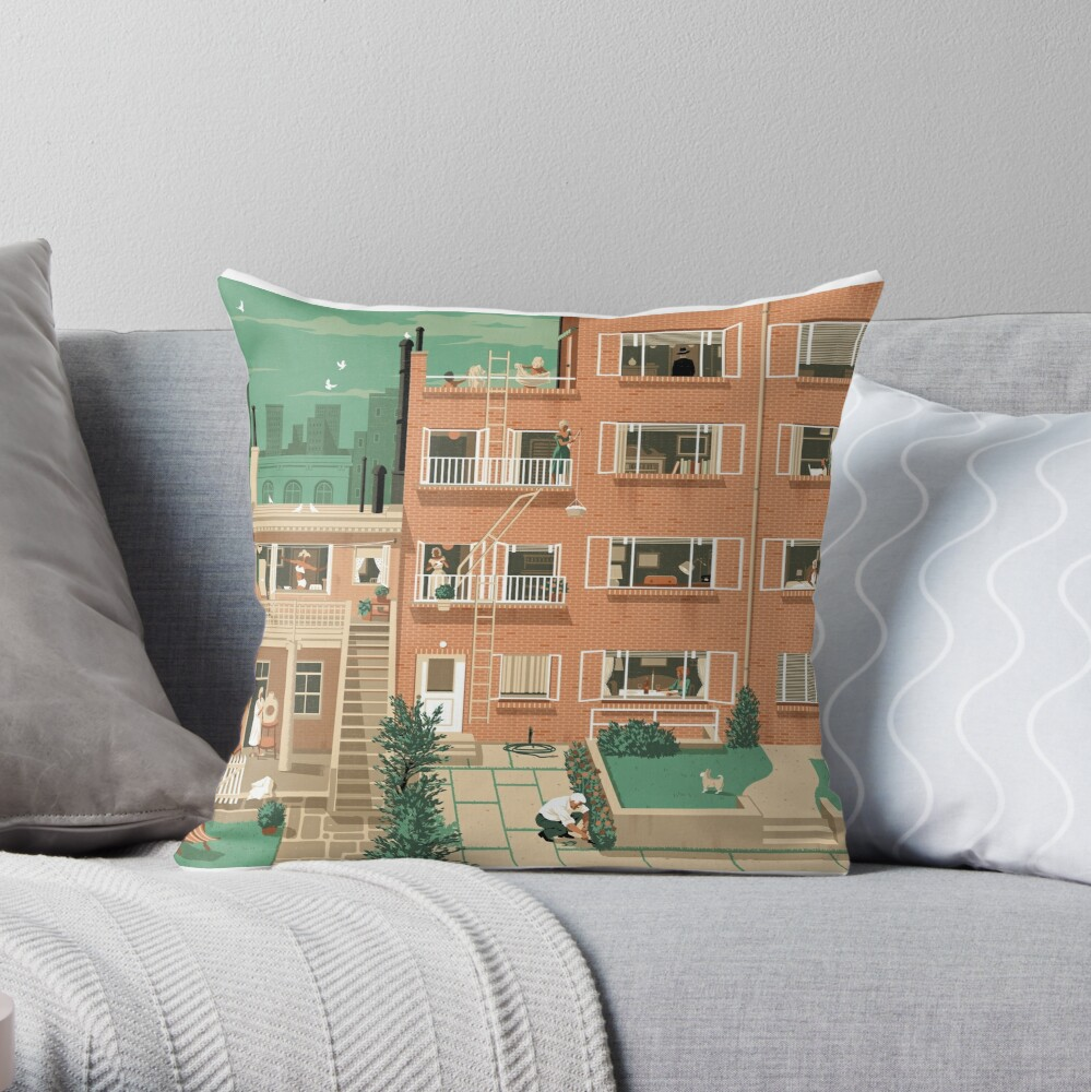 Travel Posters - Hitchcock's Rear Window - Greenwitch Village New York Throw Pillow