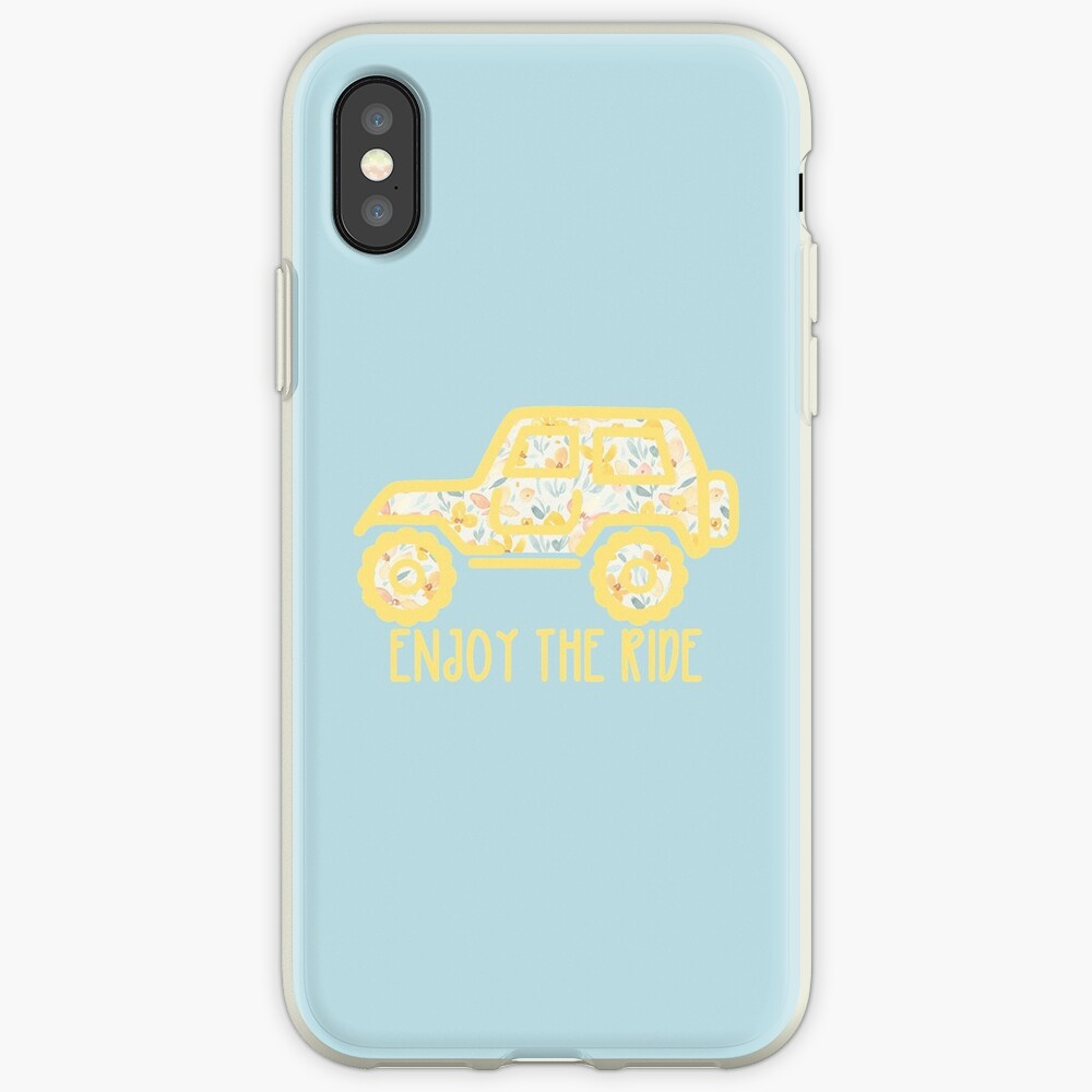 Floral Jeep (yellow) iPhone Case & Cover