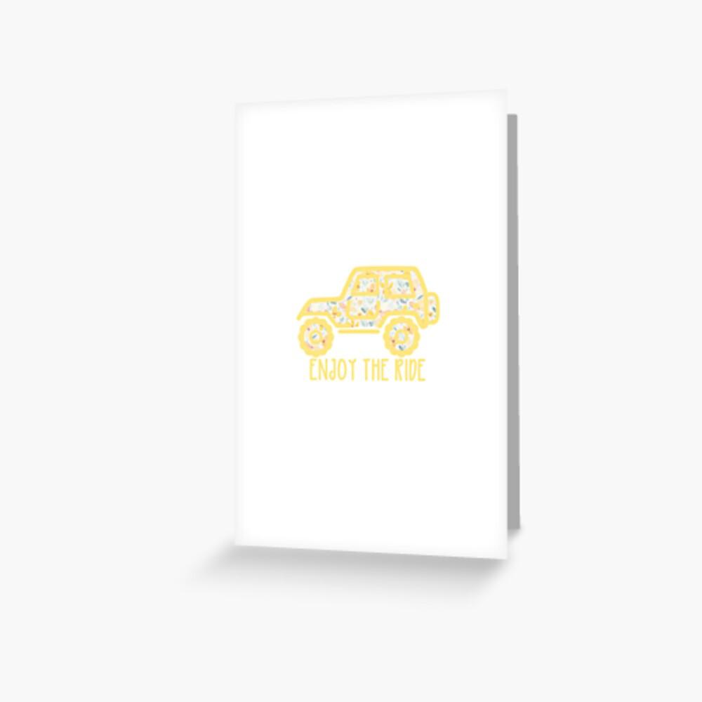 Floral Jeep (yellow) Greeting Card