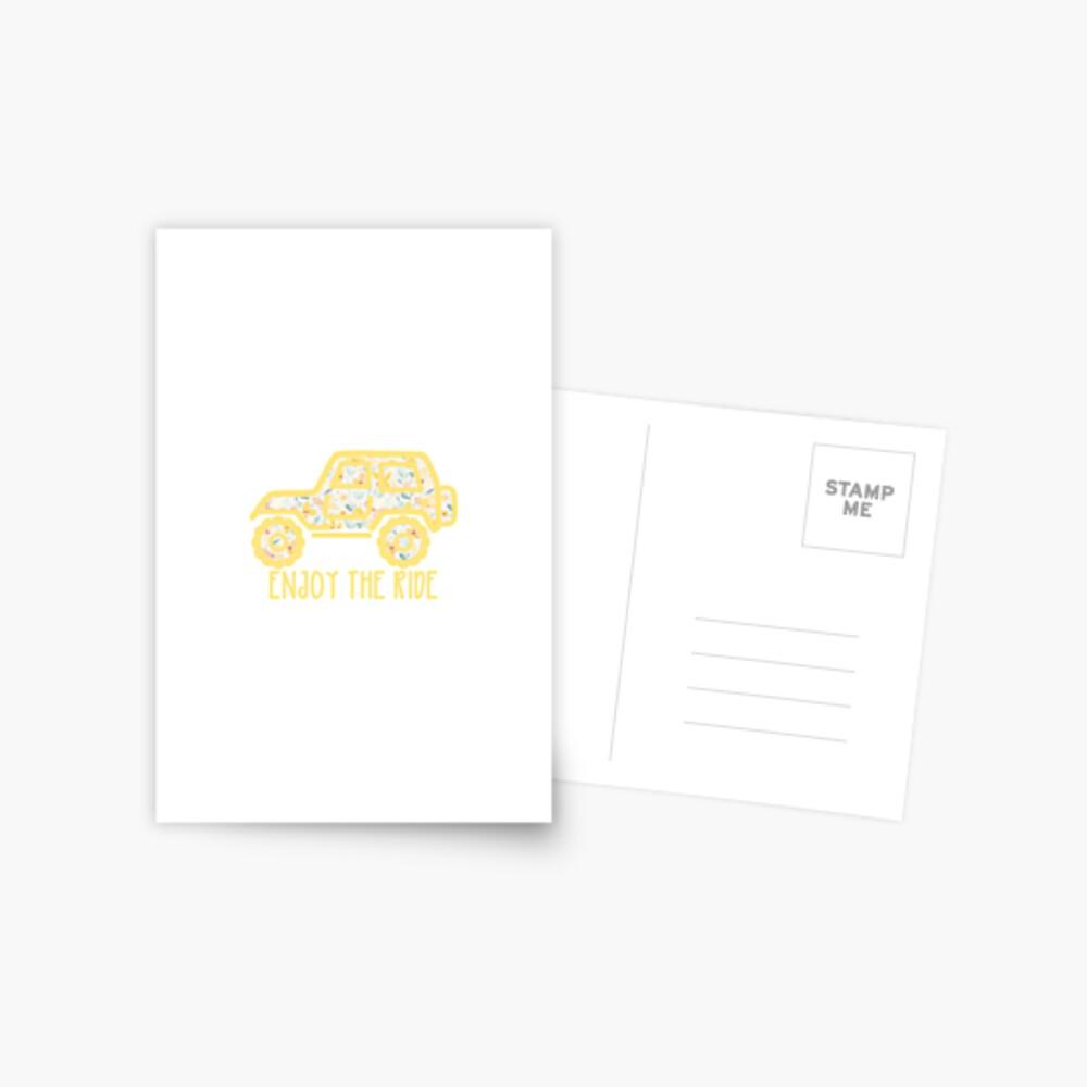 Floral Jeep (yellow) Postcard