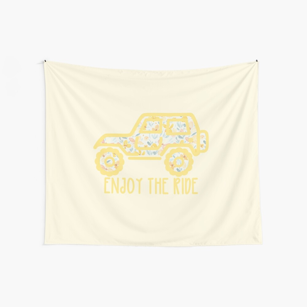 Floral Jeep (yellow) Wall Tapestry