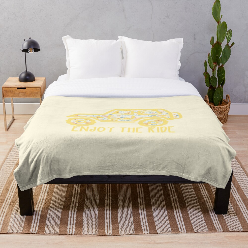 Floral Jeep (yellow) Throw Blanket