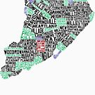Staten Island New York Typographic Map by icoNYC