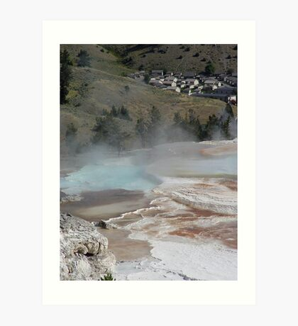 Mammoth Hot Springs and Town Below Art Print