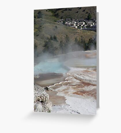 Mammoth Hot Springs and Town Below Greeting Card