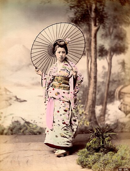 Japanese girl wearing kimono with parasol by Fletchsan