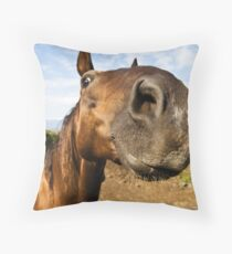Inquisitive horse Throw Pillow