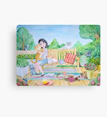 The girl and the cats Canvas Print