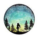 Watercolor Night Sky Gazing by Jasanna Czellar