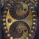 Ancient Worn Golden Astronomy diagram charting Phases of the Moon  by Glimmersmith