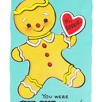 """Cut Out for Christmas"" - Vintage, Retro, Valentine's, Day, Card, Inspired, Gingerbread, Man, Ginger, Cookie, Cute, Love, Romance, Red, Heart, Couple, Gingerbreadman, Holiday, Xmas, Blue, Ephemera by CanisPicta"