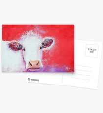 White Cow painting on red background Postcards