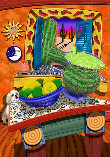 Cactus Reaching Through Window To Grab A Margarita by Jamie Rice