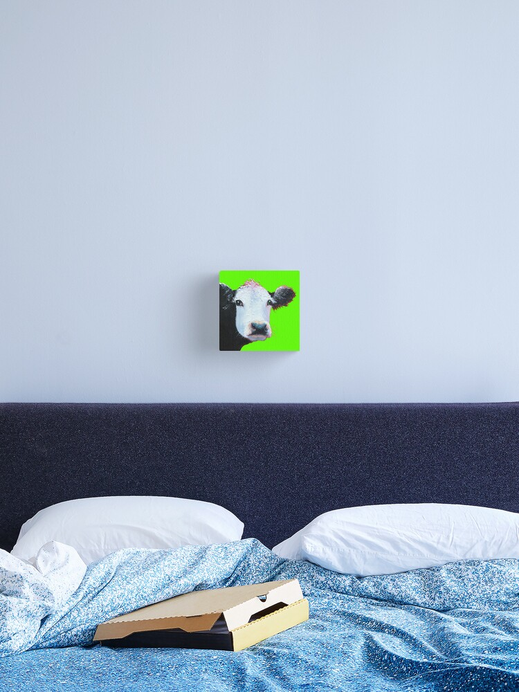 Black and white cow on lime green   Canvas Print