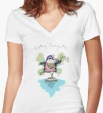 Cute Fairy Penguin Fitted V-Neck T-Shirt