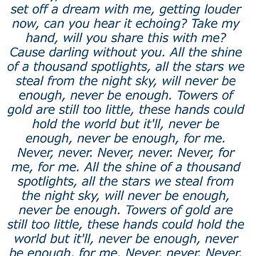 Never Enough Lyrics by Sarianne