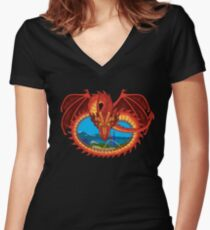 Soaring Over Mountains - Tatsu Roller Coaster at Six Flags Women's Fitted V-Neck T-Shirt
