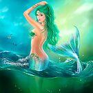 mermaid fantasy at ocean on waves by Alena Lazareva