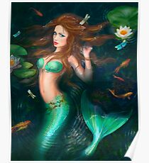 Beautiful Fantasy mermaid in lake with lilies Poster