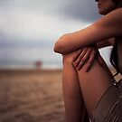 Young woman on beach medium format 6x6 Hasselblad analog portrait photo by edwardolive