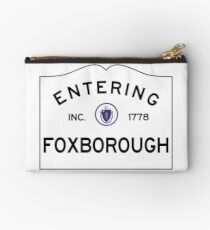 Entering Foxborough Massachusetts - Commonwealth of Massachusetts Road Sign Studio Pouch