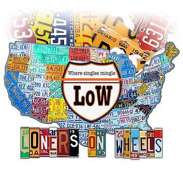 Loners on Wheels License Plate Map Art Dark Version by designturnpike