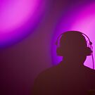 Rap hiphop dance music deejay dj in disco nightclub silhouette by edwardolive