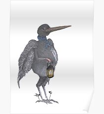 CROW WITH LAMP Poster