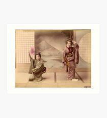Two geisha girls dancing Art Print