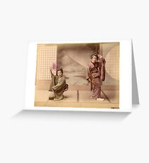 Two geisha girls dancing Greeting Card