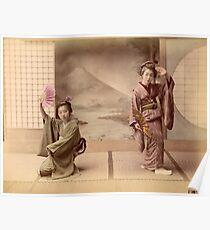 Two geisha girls dancing Poster