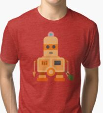 Giant silver robot with a toy human  Tri-blend T-Shirt