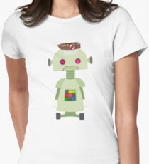 Giant green robot with a boat hat Women's Fitted T-Shirt