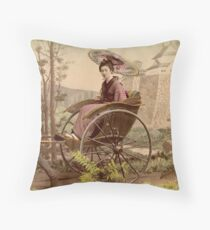 Geisha travelling by jinrikisha Throw Pillow