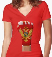 MONTENEGRO FIGHTING PRIDE Women's Fitted V-Neck T-Shirt
