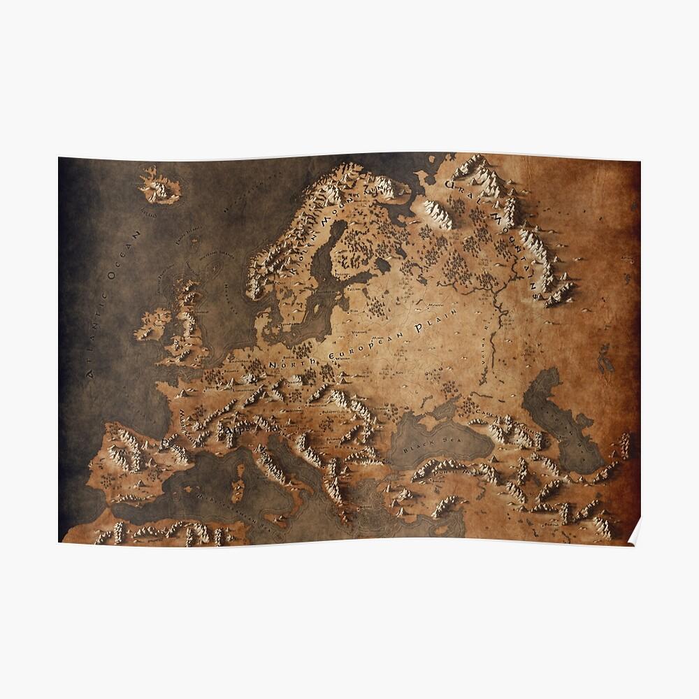 Karte von Europa - Fantasy-Thema Poster