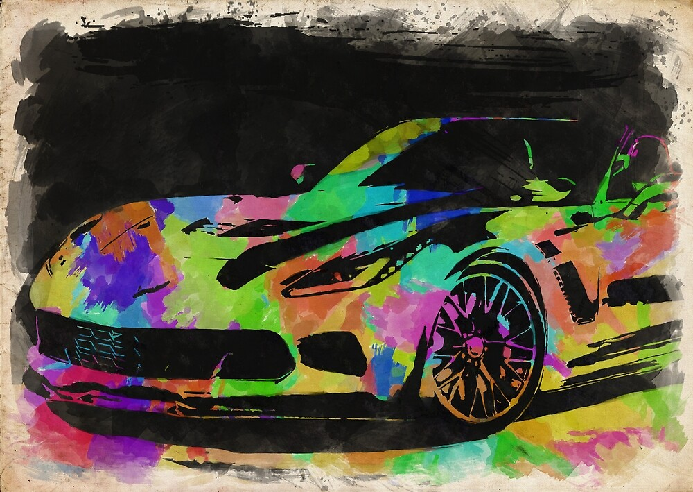 Corvette Watercolor II by RickyBarnard