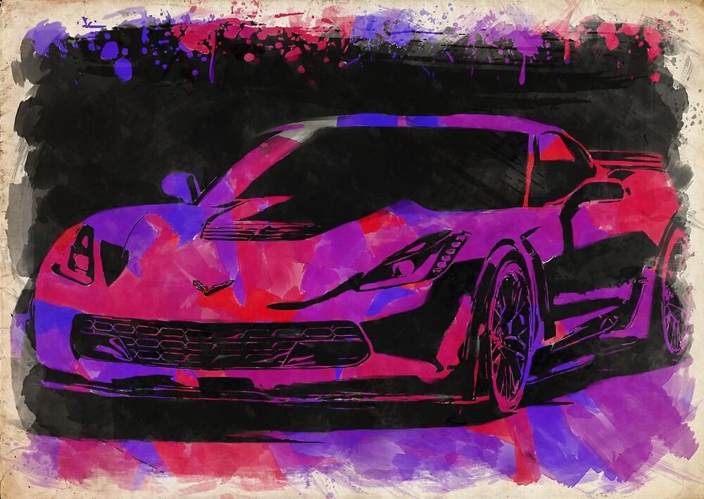 Corvette Watercolor IX by RickyBarnard