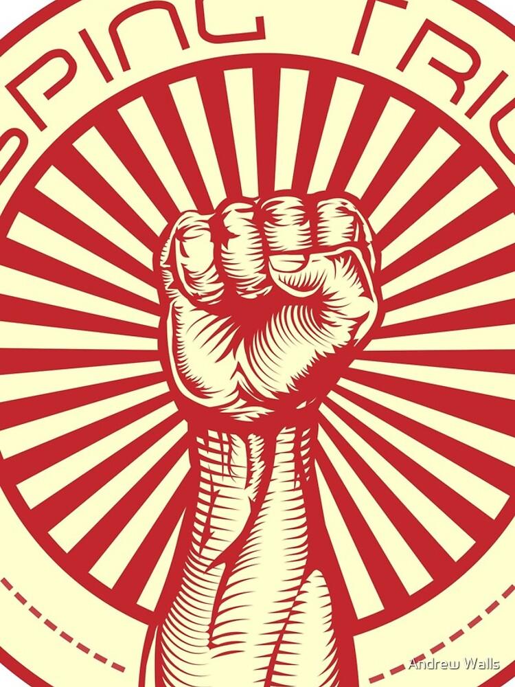Grasping Triumph Russian Propaganda Raised Fist Art  by andrewjwalls